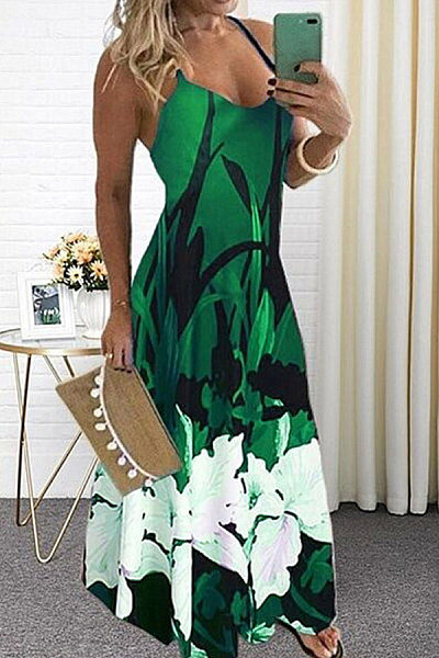 Sexy Sling Floral Maxi Dress
