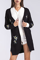 Snap  Front  Print  Casual  Cardigans
