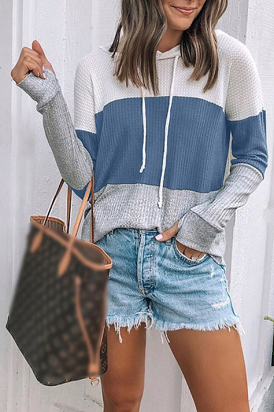 Casual Women Hooded Colouring Long Sleeve Outerwear