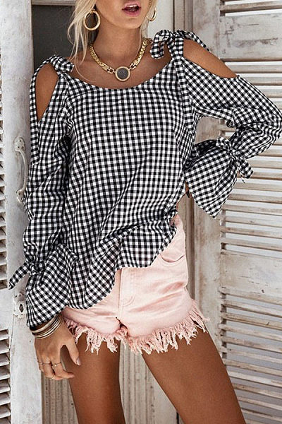 Open Shoulder  Bowknot  Checkered Shirts