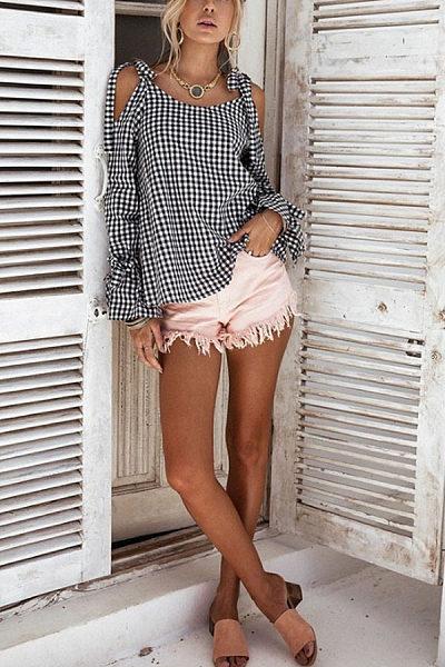 Open Shoulder  Bowknot  Checkered Shirts