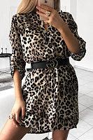 V Neck Fashion Animal Printed Casual Dress