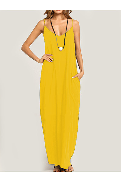 Summer Spaghetti Strap Pocket Plain Maxi Dress
