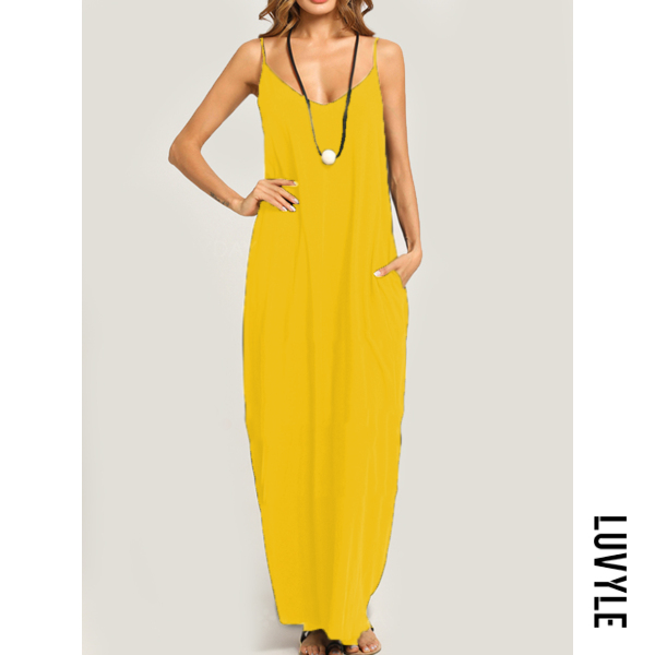 Yellow Summer Spaghetti Strap Pocket Plain Maxi Dress Yellow Summer Spaghetti Strap Pocket Plain Maxi Dress