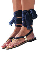 Summer Faux Leather  Plain  Criss Cross Sandals