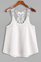 Patchwork Hollow Out Sleeveless Vests