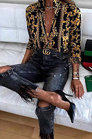 Fashion Lapel Collar Printed Button Slim Blouses