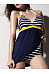 Tie Collar  Backless  Plain Stripes  Sleeveless One Piece