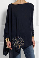 Round Neck Print Loose Fitting Long Sleeve T-Shirt