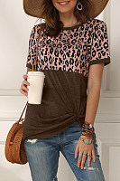 Round Neck Leopard Color Block T-shirt