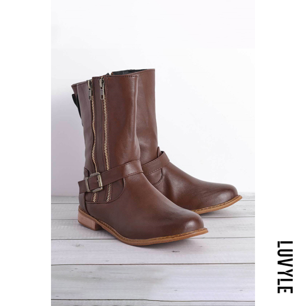 Distressed Zips Round Toe Boots - from $46.00