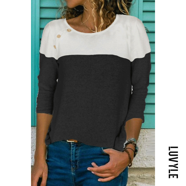Black Button-Decorated Long-Sleeved T-Shirt Black Button-Decorated Long-Sleeved T-Shirt