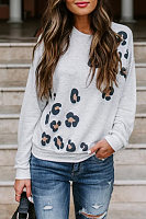 Round Neck Print Long Sleeve Casual T-Shirt
