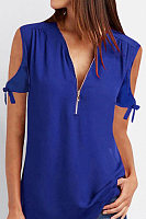 V Neck Zips Casual T-Shirts