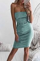 Strapless  Backless  Plain  Sleeveless  Sexy Bodycon Dresses