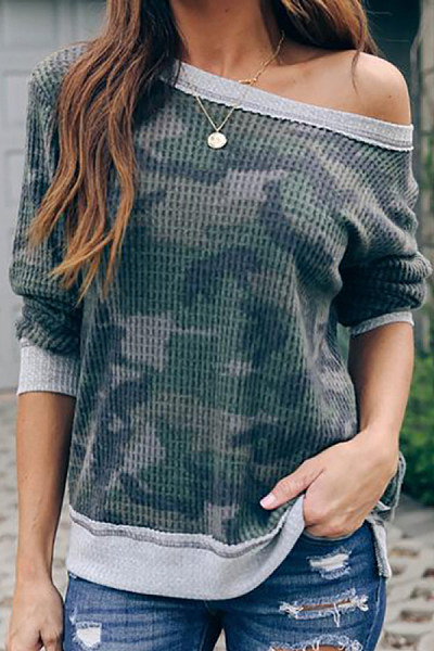 Women's casual round neck camouflage T-shirt