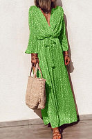 V Neck  Bow  Print  Bell Sleeve  Maxi Dresses
