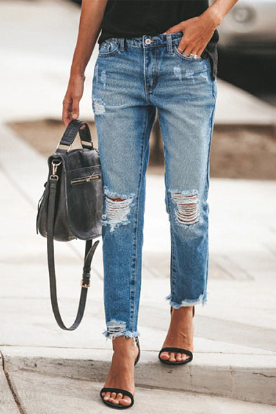 Women's ripped fringed slim jeans trousers