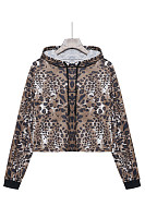 Hooded  Drawstring  Leopard Printed Jackets
