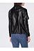 Lapel Faux Leather Pocket Plain Jacket
