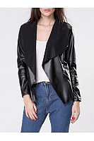 Lapel Faux Leather Pocket Plain Jacket