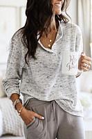 Buckle Collar Plain Casual Sweater