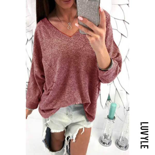 Red V Neck Plain Batwing Sleeve T-Shirts Red V Neck Plain Batwing Sleeve T-Shirts