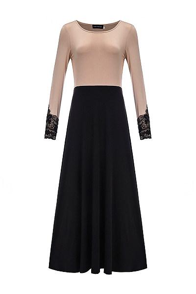 Round Neck Color Block Decorative Lace Maxi Dress