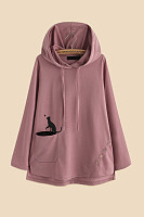 Casual Long Sleeve Plain Cat Hoody