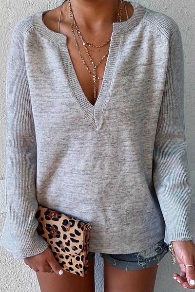 V Neck  Regular  Brief  Plain  Long Sleeve Sweaters
