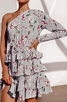 One Shoulder  Printed  Elegant Skater Dresses