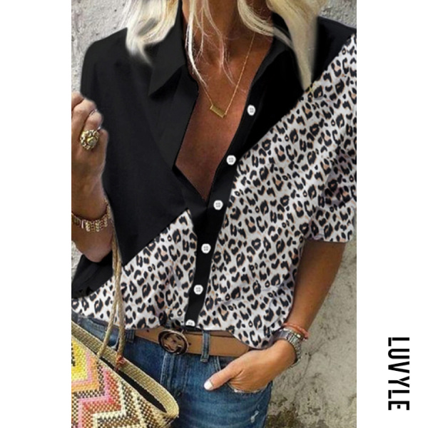 Casual Leopard Patchwork Long Sleeve Blouse