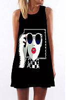 Round Neck  Graffiti  Sleeveless Casual Dresses