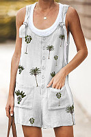Round Neck  Printed  Sleeveless  Playsuits