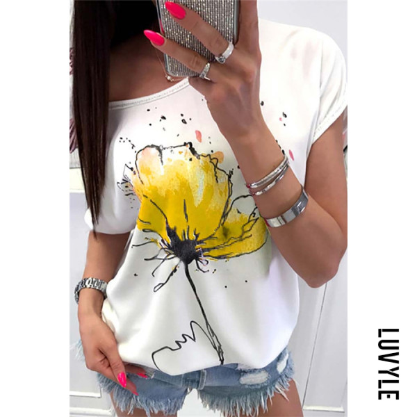 Yellow Round Neck Printed Casual T-Shirts Yellow Round Neck Printed Casual T-Shirts