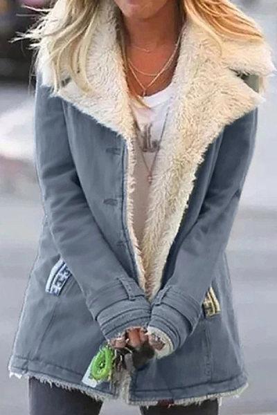 Fashion Pure Color Long Sleeve Coat