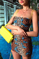Spaghetti Strap  Backless  Leopard Printed  Sleeveless Bodycon Dresses