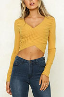 Deep V Neck  Exposed Navel  Plain T-Shirts