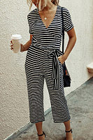 V Neck Striped Long Jumpsuit
