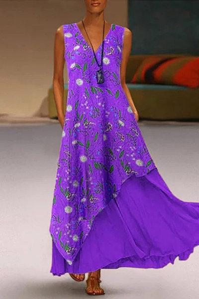 V Neck Fake Two-piece Floral Maxi Dress