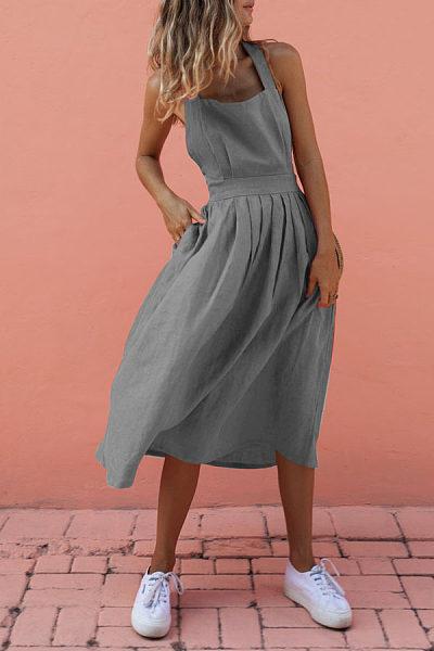 Sexy Backless Cross Sleeveless Plain Maxi Dresses