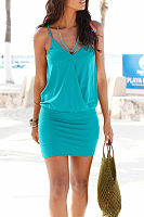 Spaghetti Strap  Elastic Waist  Plain  Sleeveless Bodycon Dresses
