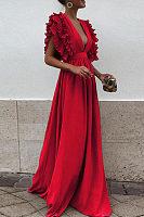 Deep V Neck  Flounce  Plain  Short Sleeve Maxi Dresses