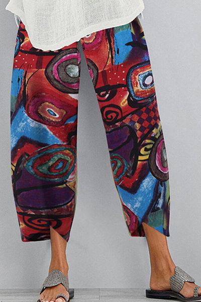 Fashionable cotton and linen printed wide-leg split casual pants