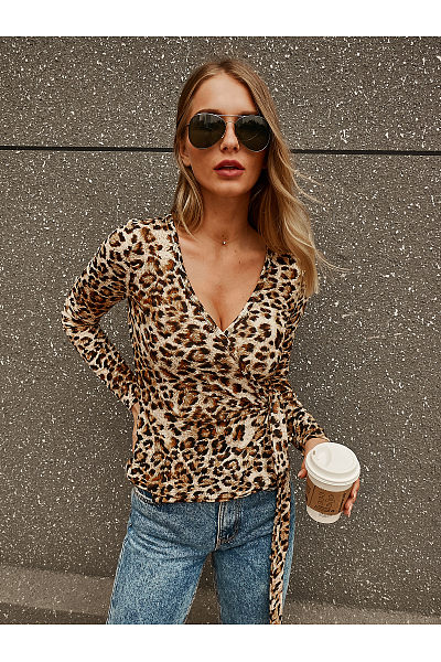 Deep V-Neck Leopard Print Long Sleeve T-Shirt