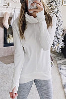 Fashion Heap Collar Long Sleeve Plain T-shirt