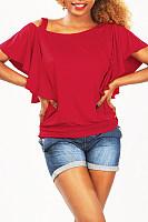 Asymmetric Neck Flounce Plain T-shirt