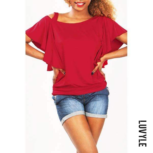 Red Asymmetric Neck Flounce Plain T-shirt Red Asymmetric Neck Flounce Plain T-shirt