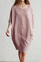 Round Neck Loose-Fitting Plain Casual Dress