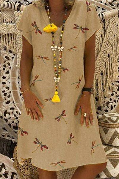 V Neck Short Sleeve Printed Dress